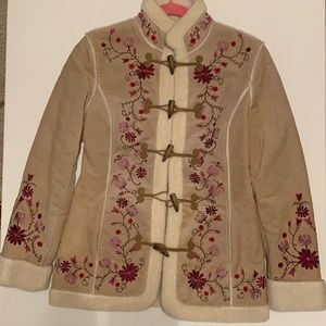 St. John's Bay Suede and Leather Floral Coat